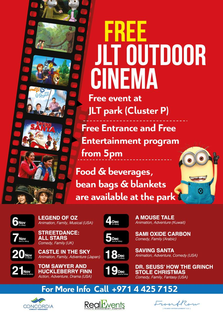 out door cinema at JLT park
