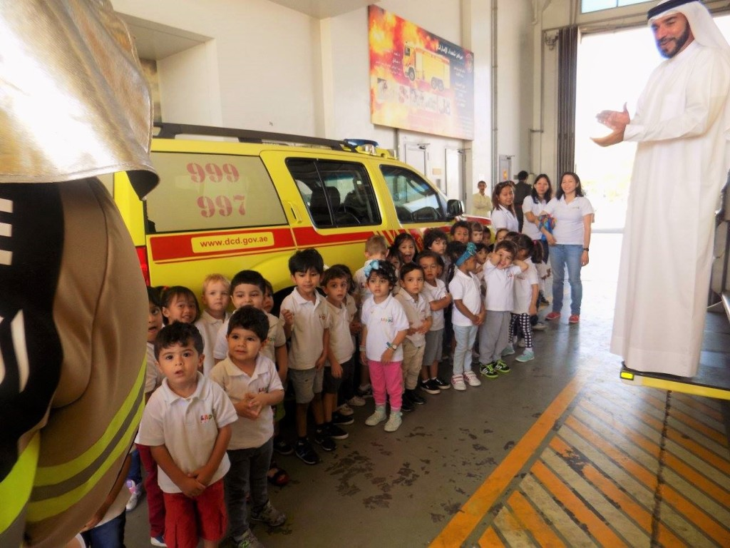 fire station visit at the nursery iin jlt
